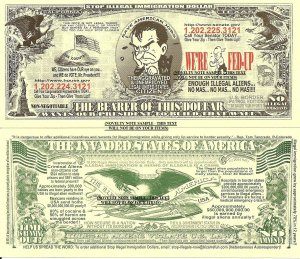 Stop Illegal Immigration United States Dollar Bills x4 Invaded States of America