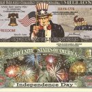Independence Day July 4th Uncle Sam Million Dollar Bills x 4 God Bless America