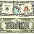 Thanks a Million Danke Merci Statue of Liberty Million Dollar Bills x 4