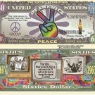 1960's Sixties Revolution Peace Flower Power Groovy Psychedelic Dollar Bills x 4