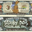 Scooby Dooby Doo Where are You One Million Mystery Dollar Bills x 4