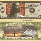 Jesus Christ Our Savior Bible Verse John 3:16 Faith 40 Dollar Bills x 4 Saviour