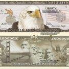 American Eagle Million Dollar Bills x 4 Brooklyn Bridge Mount Rushmore Liberty