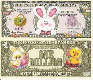 Easter Bunny Greetings Holiday Fun Million Dollar Bills x 4 Happy Bunnies Rabbit