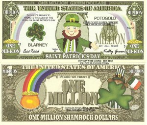 Saint Patricks Day Leprechaun Shamrock Million Green Dollar Bills x 4 Pot O Gold 17th March