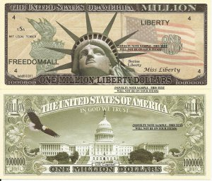 Statue of Liberty with Torch US Capital One Million Dollar Bills x 4 America
