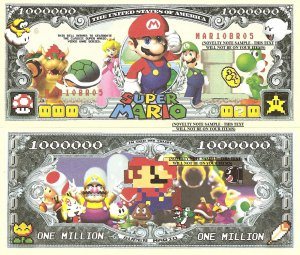Super Mario Brothers Classic Video Game One Million Dollar Bills x 4