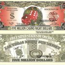Craps Five Million Casino Night Dollar Bills x 4 Las Vegas Fun Money Notes