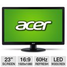"23"" LED Acer S S230HL Abd LED LCD Monitor -Black DVI (HDCP) & VGA - Manufacturer Refurbished"