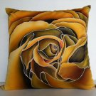 "Yellow rose design on 16""x16"" batik painted cushion cover"