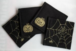 Black Halloween-a set of four 11cm.x11cm. painted cotton coasters