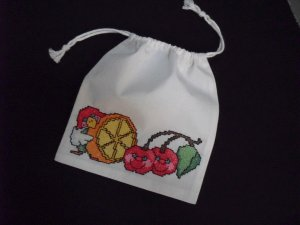 "Little Parrot and fruits-cross stitch on 7""x 8""off-white cotton blends drawstring pouch"