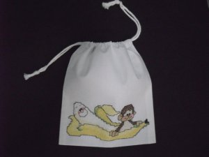 "Little monkey-cross stitch on 7""x 8""off-white cotton blends drawstring pouch"