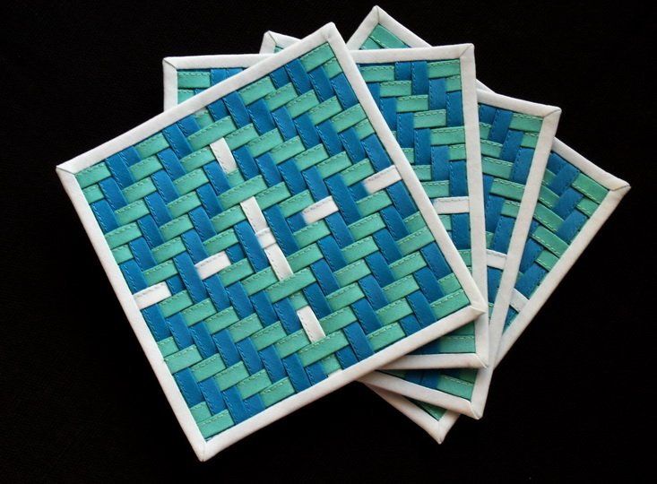 """Blue and green-a set of four 4.5""""x 4.5"""" woven coasters"""
