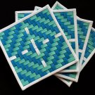"Blue and green-a set of four 4.5""x 4.5"" woven coasters"