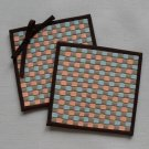 Plaid and bow-a set of two 11cm.x11.5 cm. woven coasters