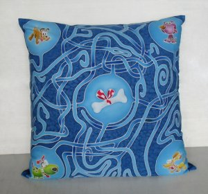 """Searching dogs game design on 16""""x16"""" batik painted cushion cover"""