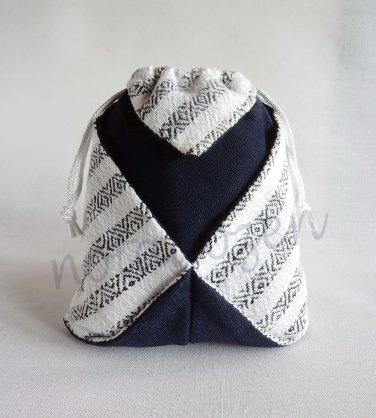 Multi-purpose Origami Drawstring Pouch size18x20cm.Black and white striped hand-woven cotton
