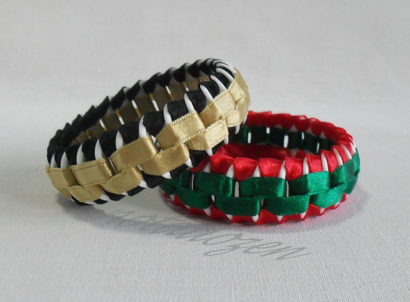 Recycled Bottle Caps Bracelet/bangle(6)-black and gold/red and green ribbon wrappedhandmade jewelry