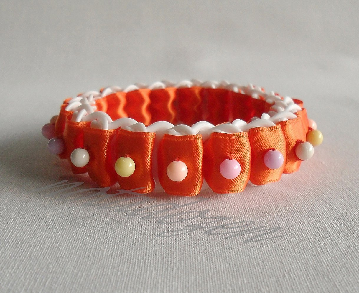 Recycled Bottle Caps Bracelet/bangle(10)-orange ribbon and color beads/women/handmade jewelry