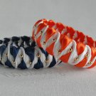 Recycled Bottle Caps Bracelet/women bangle(11)-orange/navy blue chevron wrapped and gold beads