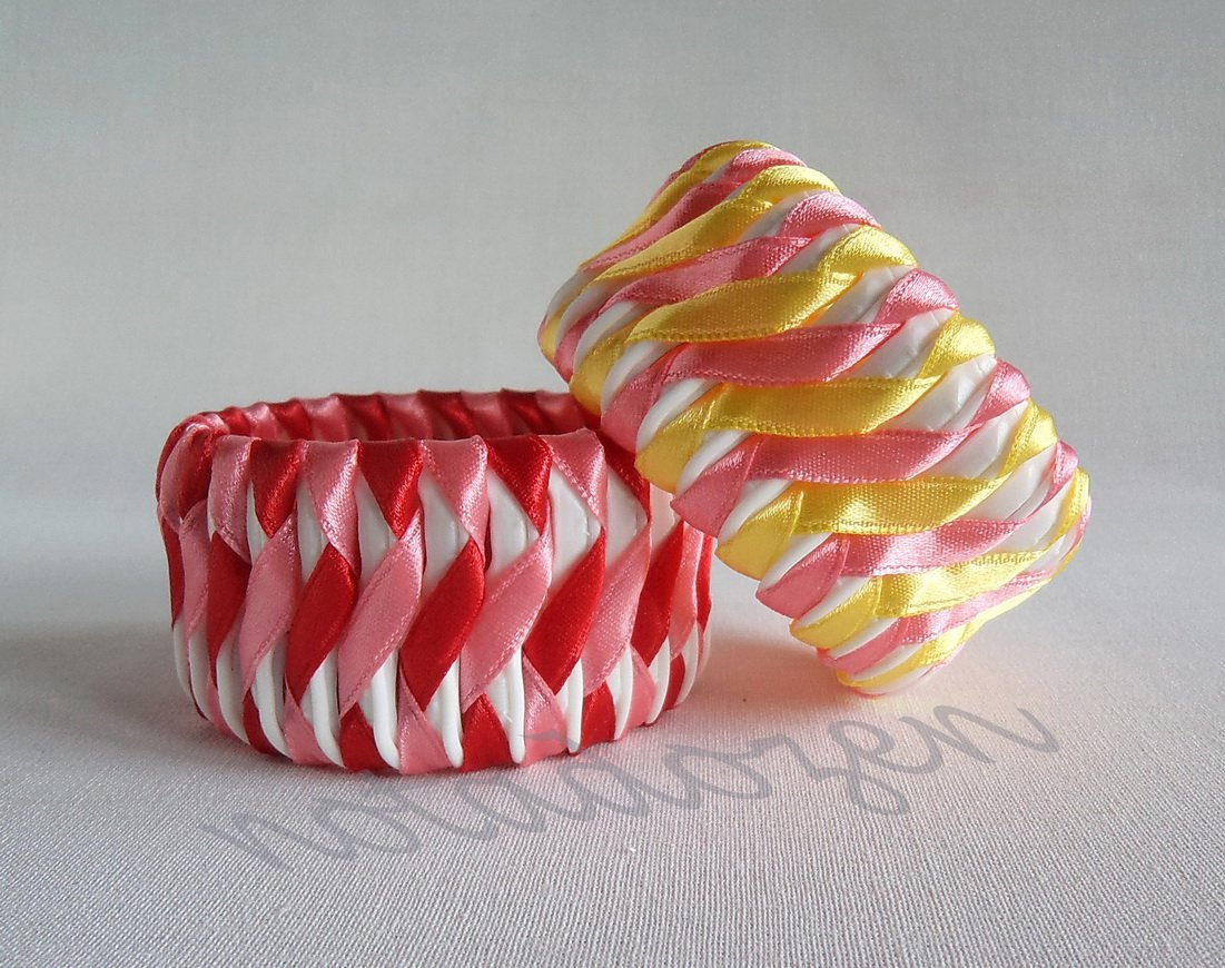"""Recycled Bottle Caps Bracelet (14)-pink and yellow/red ribbon""""S""""shaped wrapped handmade jewelry"""