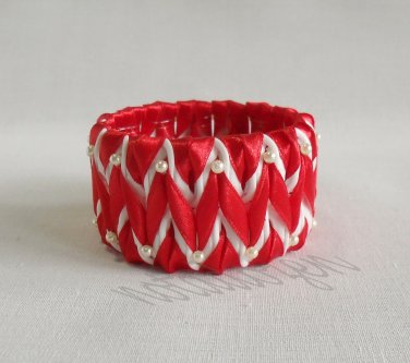 Recycled Bottle Caps Bracelet/woman bangle(16)-Chevron red ribbon and gold beads handmade jewelry