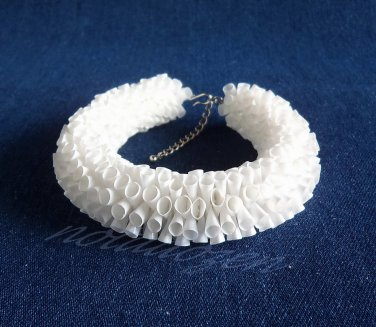 Eco Upcycled Plastic Drinking Straw White Garland Bracelet(1) woman bangle Handmade Jewelry