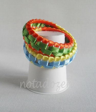 Recycled Bottle Caps Bracelet/Double/infinity handmade bangle(25)-green/orange/blue/yellow ribbon