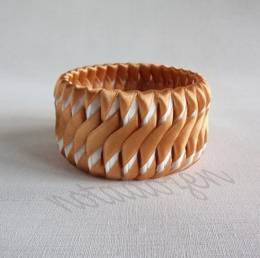"""Recycled Bottle Caps Bracelet /Wave design bangle(28)-Brown ribbon""""S""""shaped wrapped handmade jewelry"""
