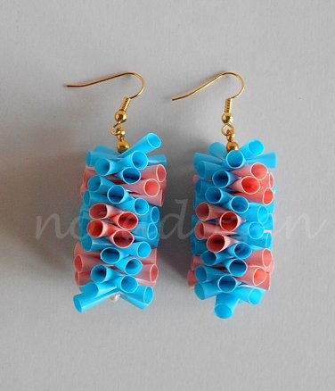 1 pair of handmade upcycled plastic drinking straws dangle&drop earrings #2-pink blossom garland