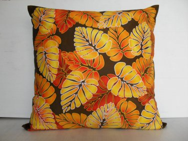 "Colorful leaves on 16""x16"" batik painted cushion cover"
