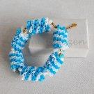 Upcycled Drinking Straw Bracelet(5)- Blue and white braided chain&linked bracelet handmade Jewelry