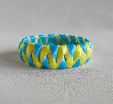 Upcycled Plastic rings of Bottle caps bracelet Blue&Yellow ribbon chevron #34 handmade jewelry
