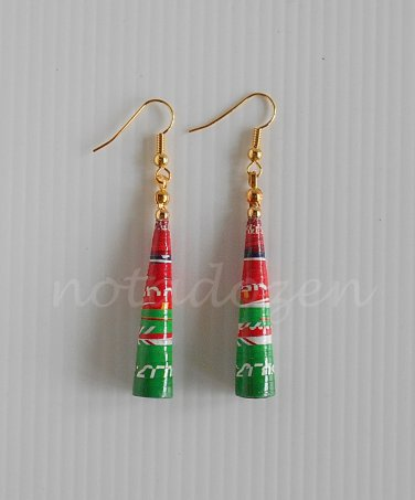 1 pair of handmade upcycled red and green conical paper beads dangle&drop earrings #1