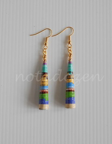 1 pair of handmade upcycled vintage colored conical paper beads dangle&drop earrings #2