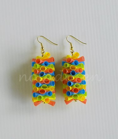 1 pair of handmade upcycled plastic drinking straws dangle&drop earrings #4-colorful dots garland