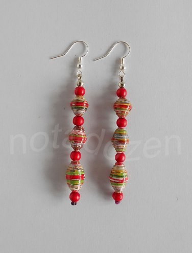 1 pair of handmade upcycled paper beads, red wooden beads dangle&drop earrings #7