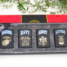 Metal Oil Lighter Set US Military Marines Navy Air Force Army (4 nos)