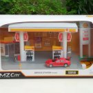 RMZ City 1/64 Plastic Petrol Station Playset SHELL & Diecast Car Porsche RED