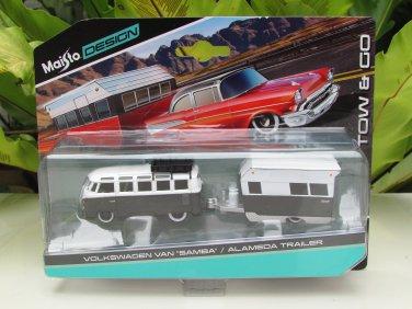 Maisto Design 1-64 Tow & Go Volkswagen VW Samba van Car with Alameda Trailer