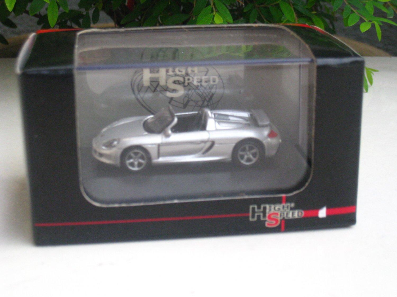 High Speed 1/87 Diecast Car Model Porsche Carrera GT Cabrio Silver(5cm)