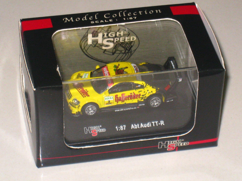 High Speed 1/87 Diecast Model Car ABT- Audi TT-R #2 Dekra Racing (5cm) Yellow