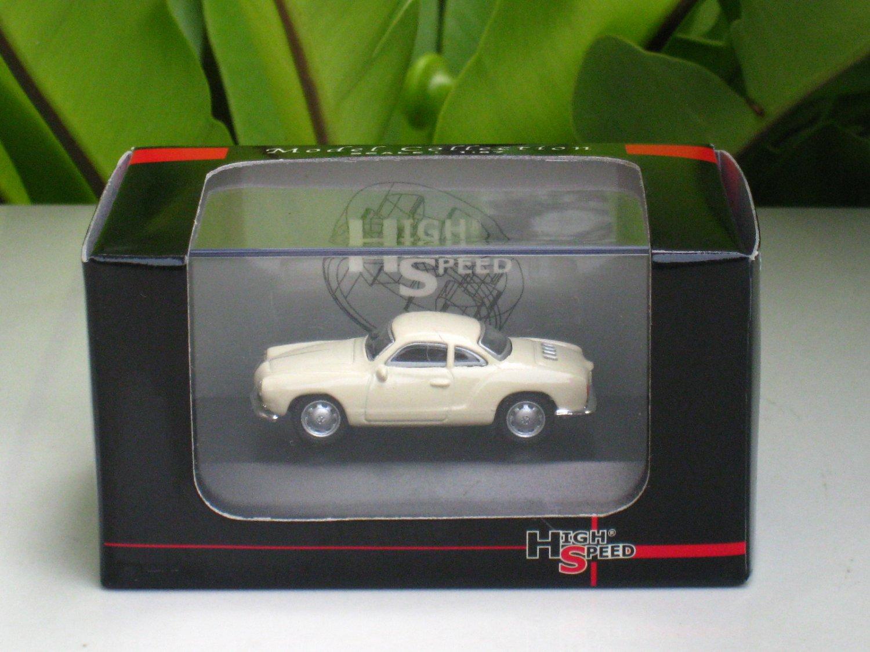 High Speed 1/87 Diecast Model Car 1959 Volkswagen VW KARMANN GHIA COUPE (5cm) Beige