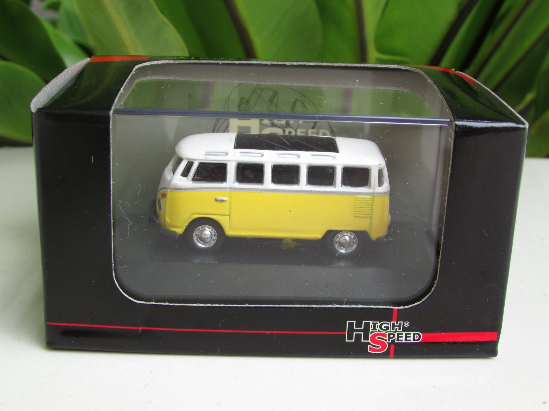 High Speed 1/87 Diecast Car Model  Classic Volkswagen VW Bus T1 Samba Bus  Yellow (5cm)