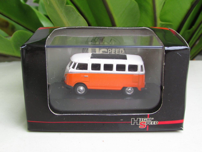 High Speed 1/87 Diecast Car Model  Classic Volkswagen VW Bus T1 Samba Bus Orange (5cm)