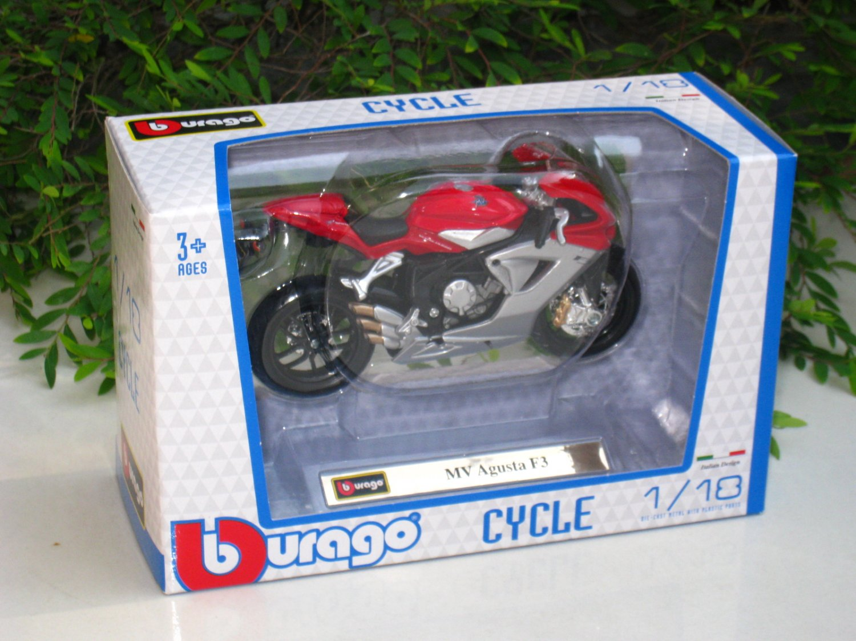 Bburago 1/18 Diecast Motorcycle MV Agusta F3 (Red/Silver)