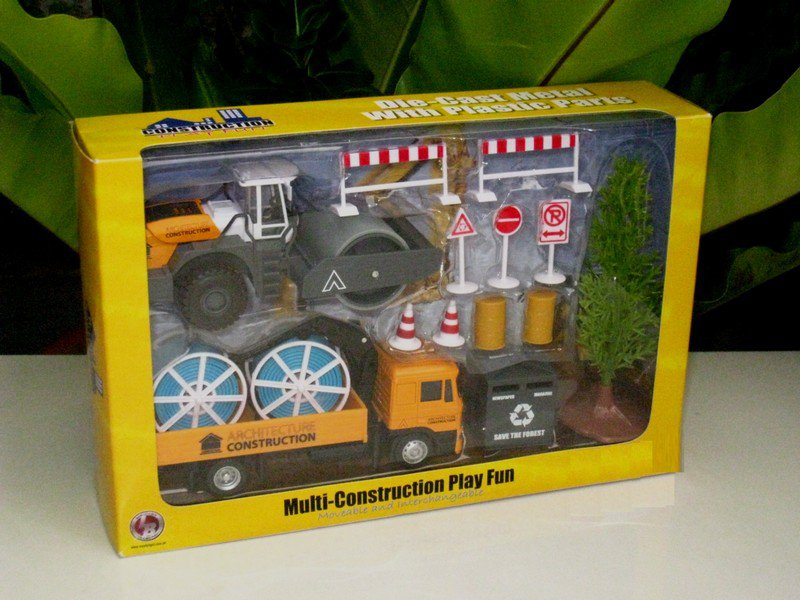 LB 1-64 Construction Playset - ROAD COMPACTOR & Man LORRY With Accessories