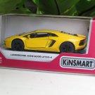 "Kinsmart (5"") Die cast Lamborghini Aventador Lp700-4  Yellow (1-38) Italian Stripes"