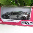 "Kinsmart (5"") Die cast Lamborghini Aventador Lp700-4  Grey  (1-38) Italian Stripes"